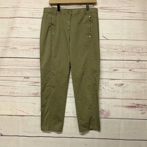 Chicos Womens Straight Cropped Pants Olive Stretch
